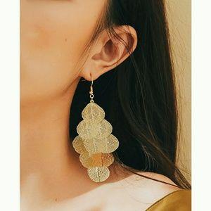 Metal Gold Leaves Earrings